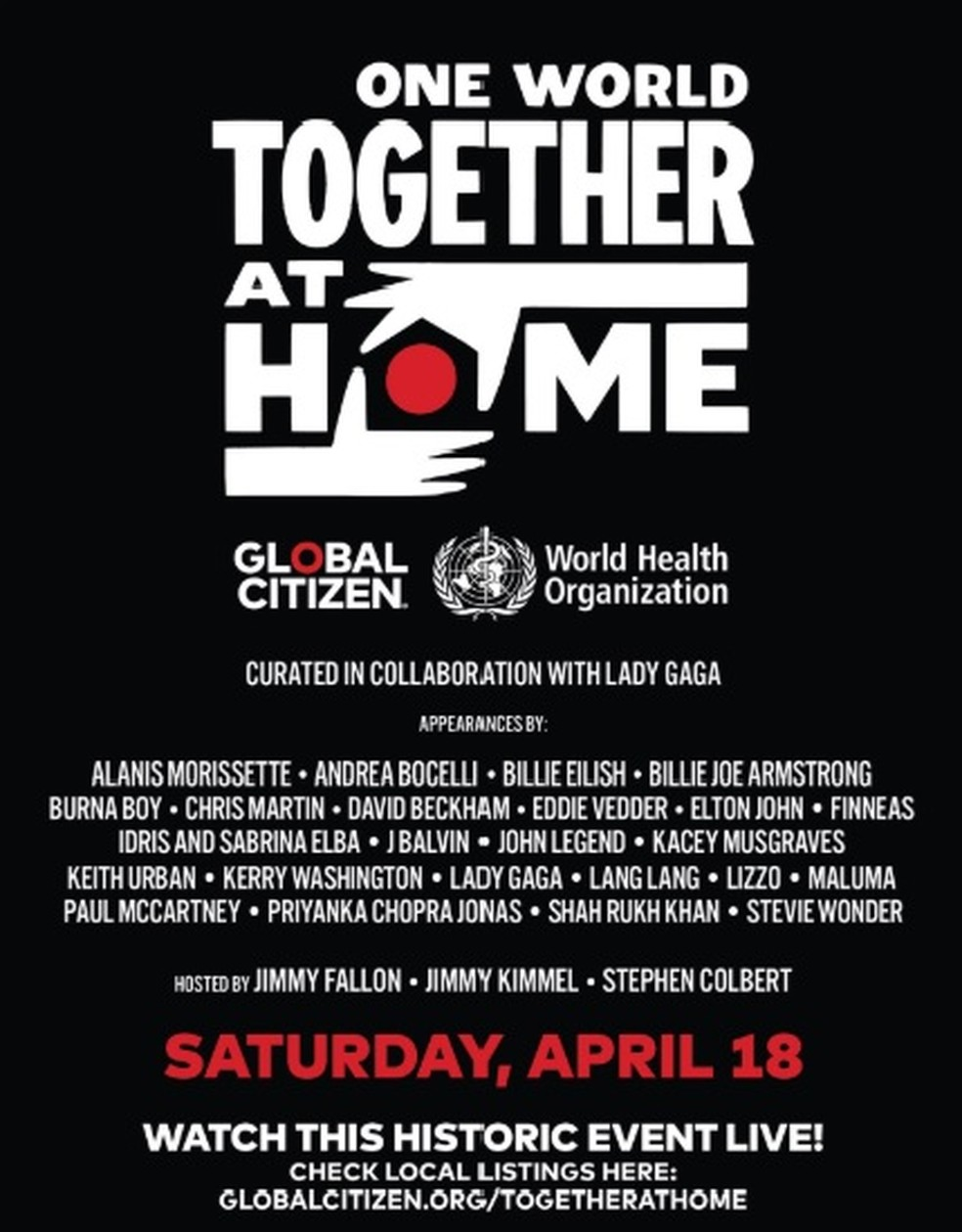 The poster for the festival, One World, Together, At Home — this one's easy.