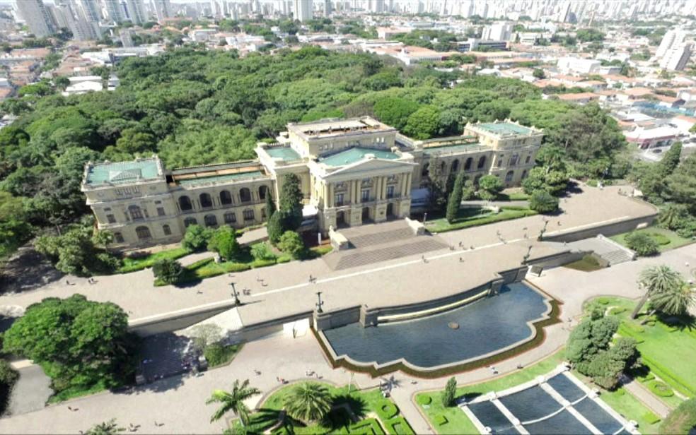 Projeção de como ficará o Museu do Ipiranga após reforma — Foto: Divulgação/USP