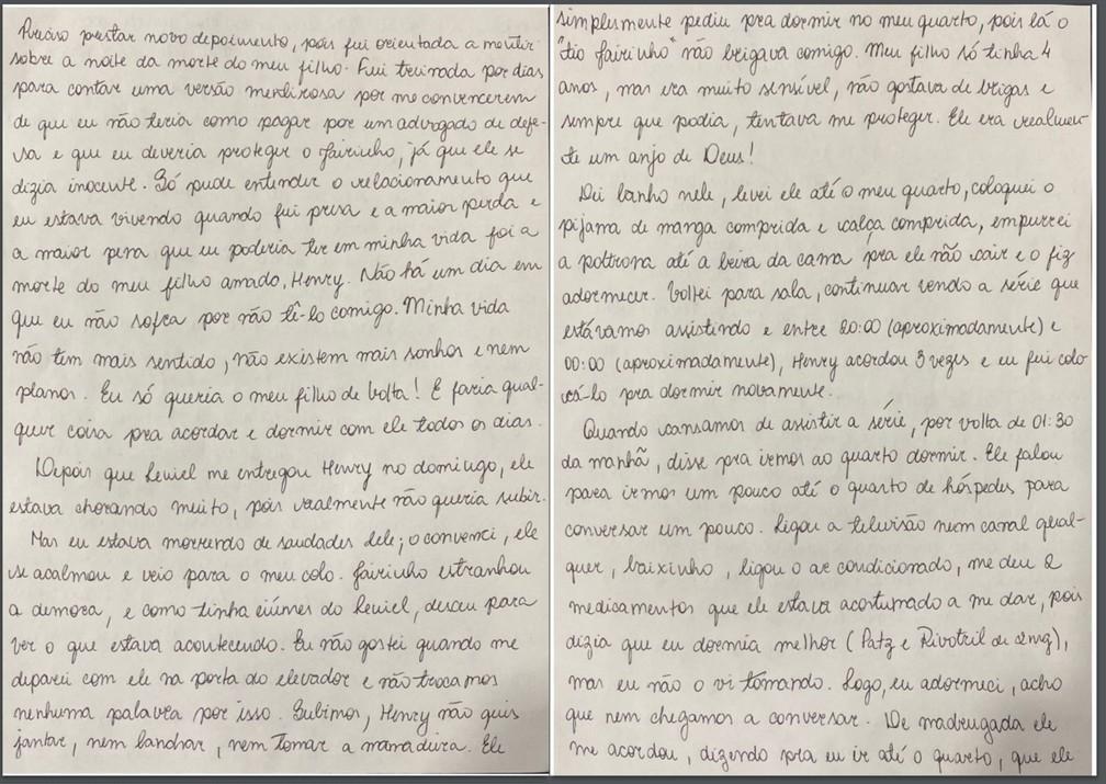 Caso Henry Borel: carta de Monique Medeiros (parte 14) — Foto: Reprodução