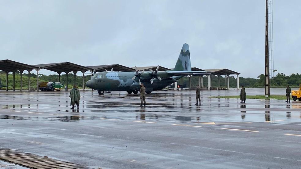 Avião com o primeiro lote das vacinas contra Covid-19 chegam em Rondônia — Foto: Jefferson Carvalho/Rede Amazônica