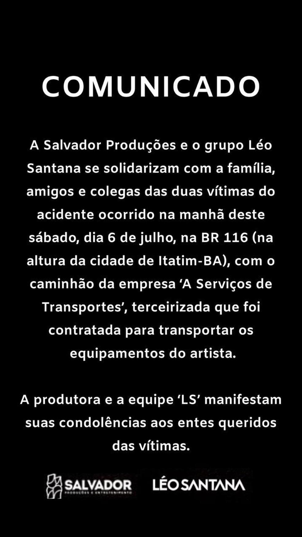Produção do artista confirmou acidente através de um anota divulgada para a imprensa, neste domingo (7). — Foto: Divulgação