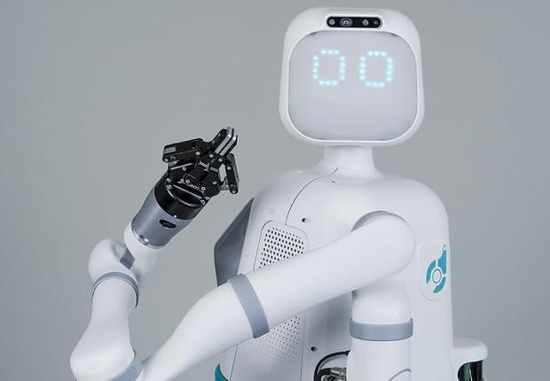 Moxi, robô desenvolvido para ajudar enfermeiros com tarefas operacionais (Foto: Diligent Robotics)