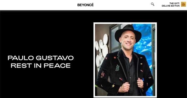 Beyoncé presta homenagem para Paulo Gustavo (Foto: Reprodução / Site oficial Beyoncé)
