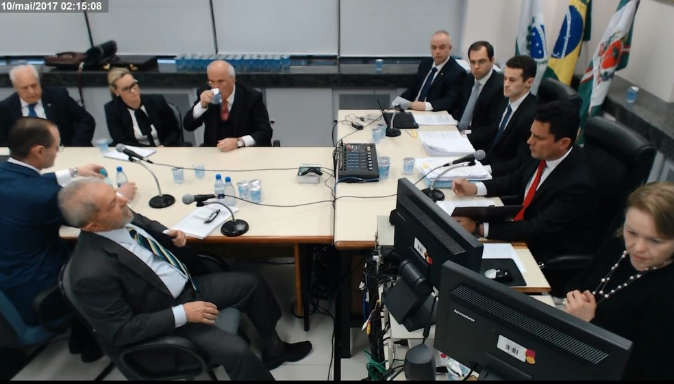 Justiça realizou uma gravação extra com com ângulo ampliado de interrogatório de Lula no processo do triplex do Guarujá (Foto: Reprodução)