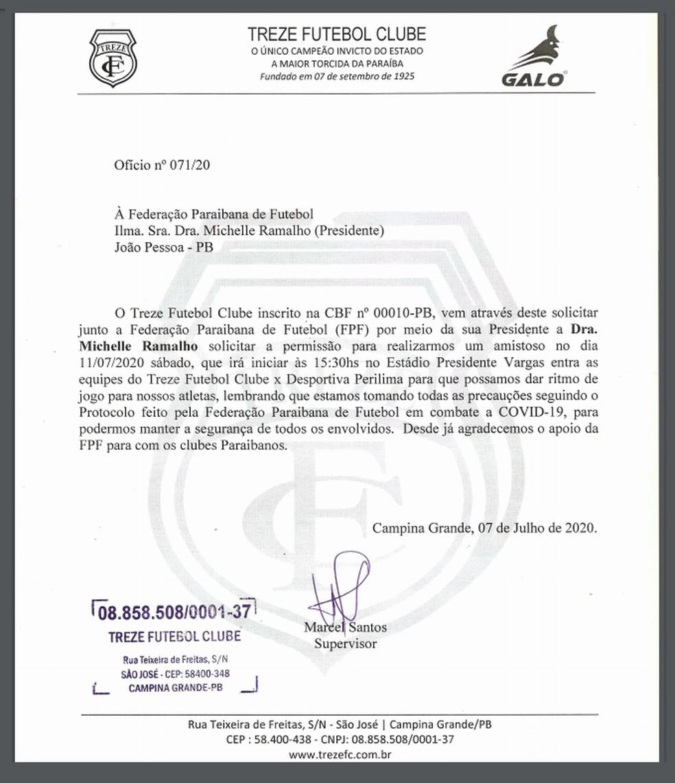 Através de ofício, o Treze pediu permissão à FPF para realizar o jogo-treino — Foto: Divulgação / Treze