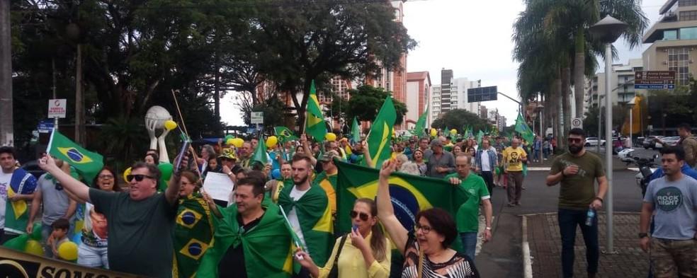 CHAPECÓ, 16h: ato em defesa da Lava Jato, pacote anticrime e reforma da Previdência — Foto: Vinícius Farfus/NSC TV