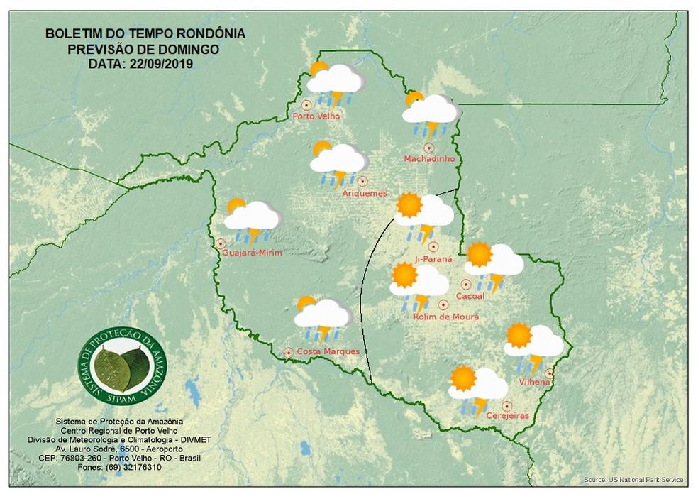 Previsão do tempo para o domingo (22) em Rondônia — Foto: Sipam/Divulgação