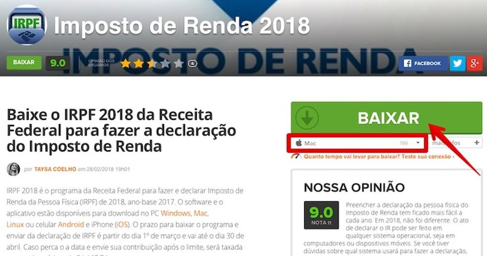 Baixe o software de declaração de Imposto de Renda 2019 — Foto: Reprodução/Helito Beggiora