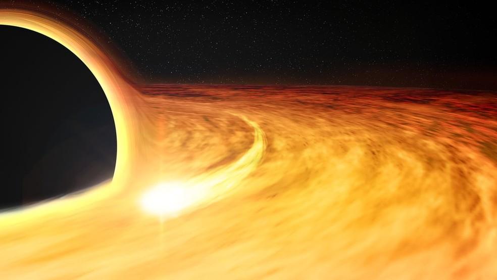 Ilustração artística de um buraco negro com um raio-x ao redor, que permite que sua taxa de rotação seja estimada — Foto: Nasa/CXC/M.Weiss