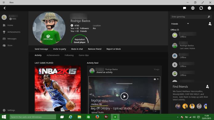 Xbox Jogos do Windows 10 exibe perfil dos seus amigos com atividades recentes (Foto: Reprodução/Elson de Souza)