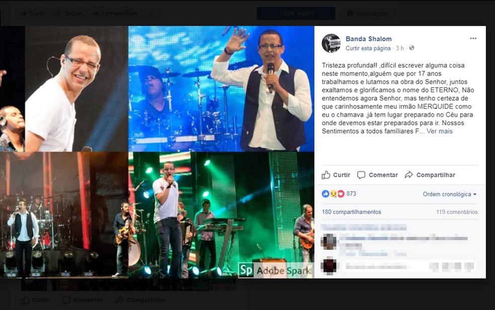 Banda Shalom manifestou pesar pela morte do cantor, que já foi vocalista do grupo (Foto: Reprodução/ Facebook)