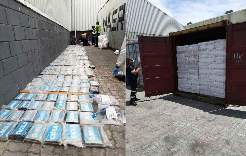 Carregamento de cocaína que saiu de Santos foi localizado na África do Sul — Foto: G1 Santos