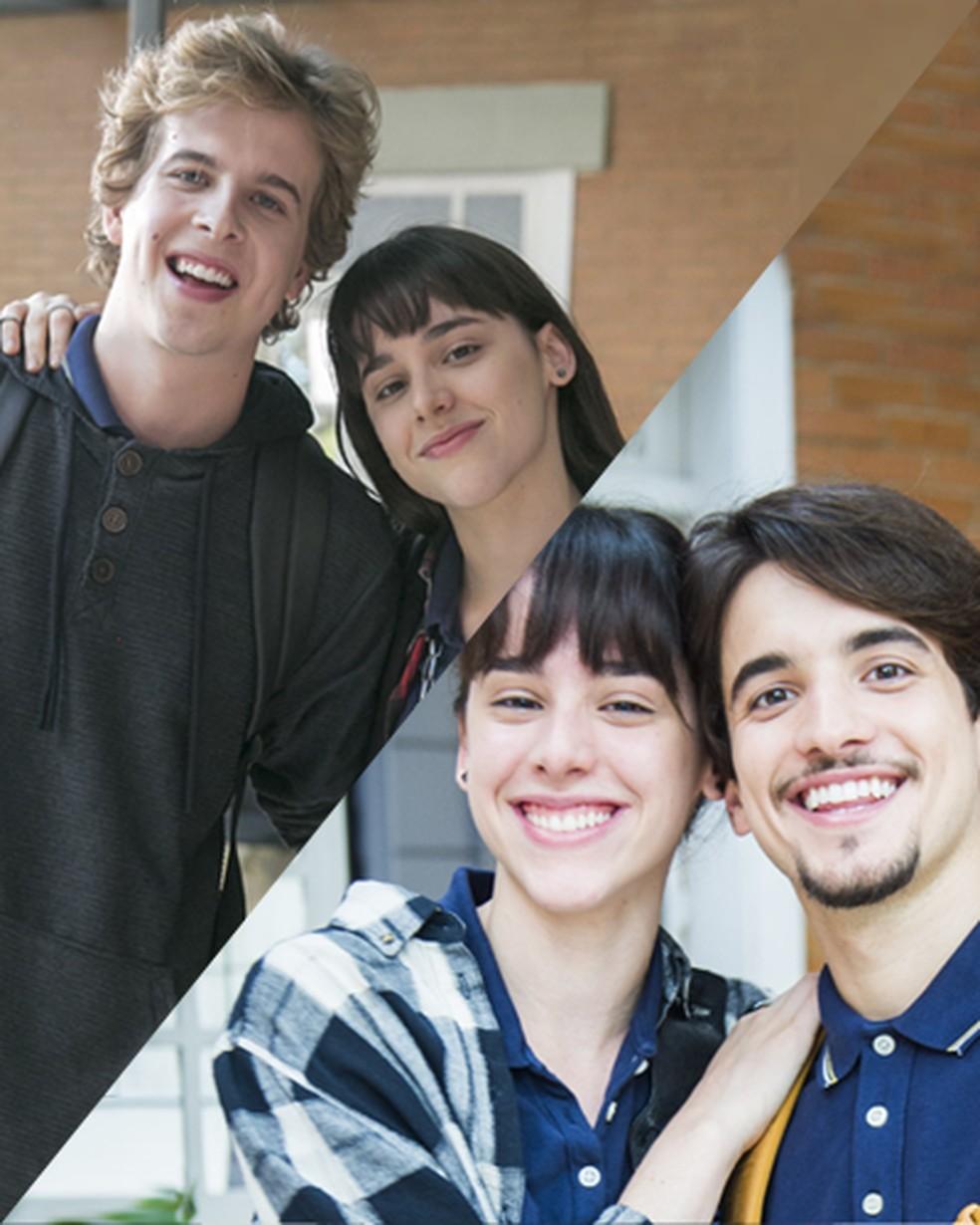 Lica (Manoela Aliperti) vive uma verdadeira ciranda amorosa com MB (Vinícius Wester) e Felipe (Gabriel Calamari) — Foto: Globo