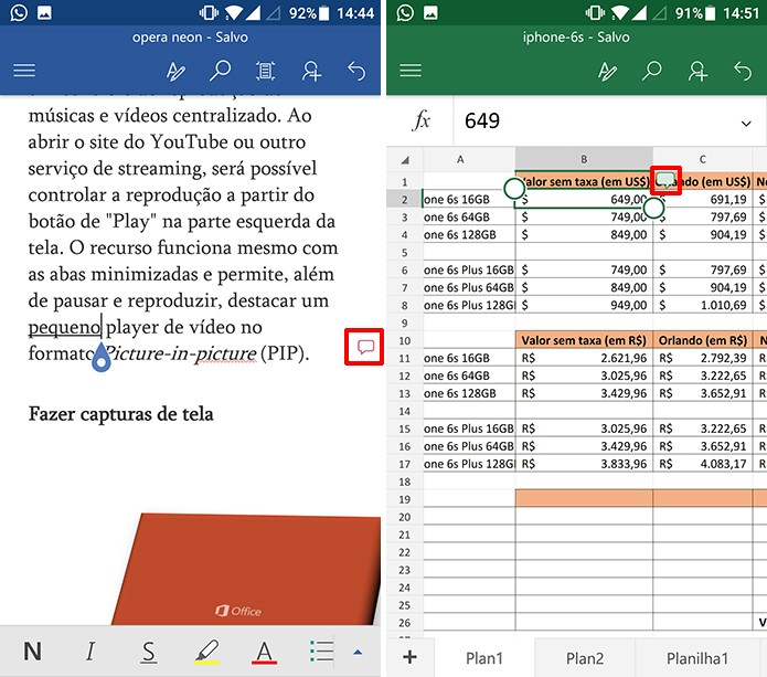 Word e Excel para Android mostram balões onde há comentários (Foto: Reprodução/Elson de Souza)