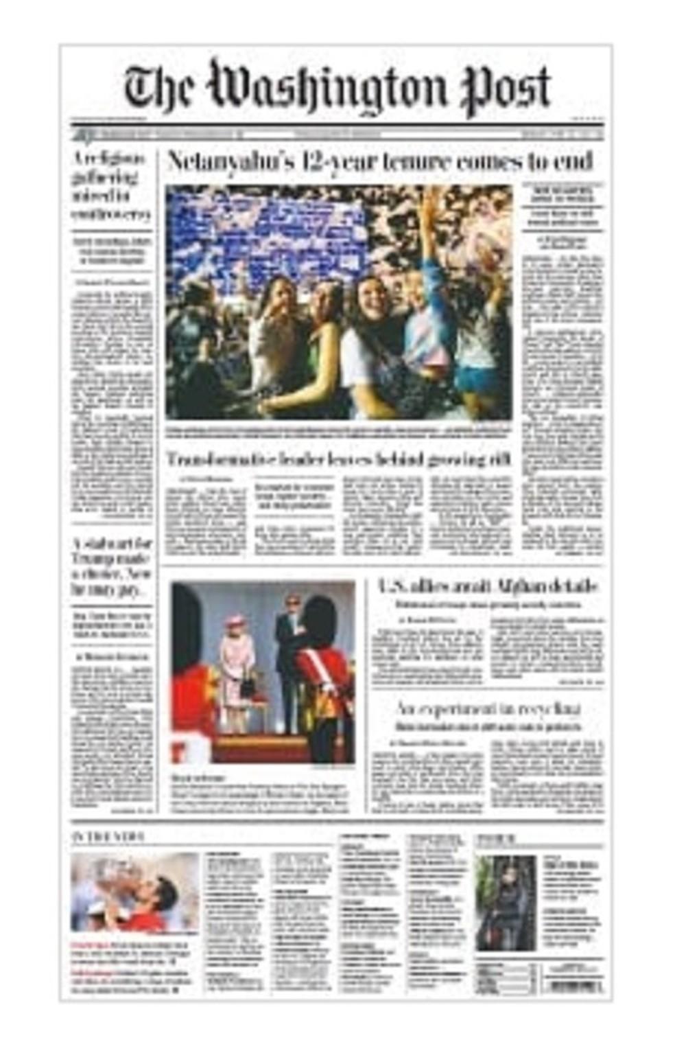 Capa real do Washington Post nesta segunda — Foto: Reprodução