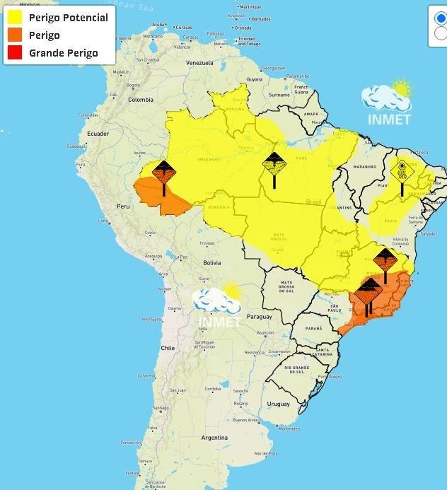 Dois avisos do Instituto Nacional de Meteorologia alertam para chuvas de até 100 milímetros no Acre