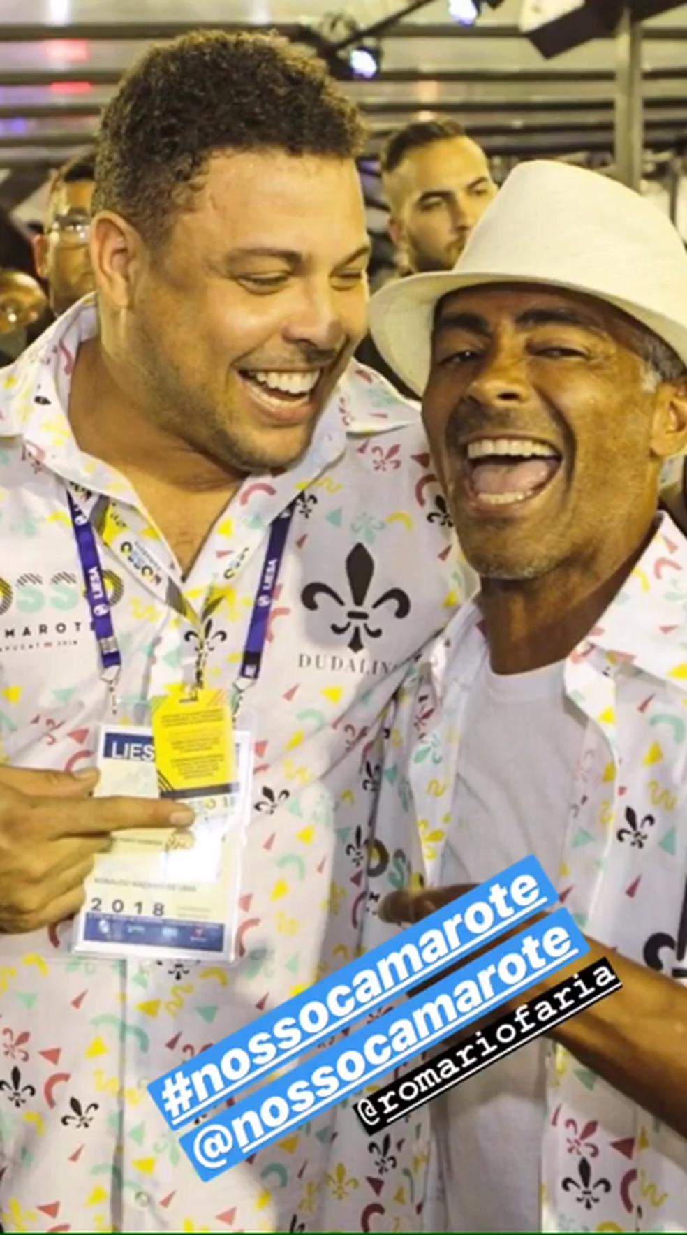 Ronaldo e Romário em camarote na Sapucaí (Foto: Reprodução / Instagram)