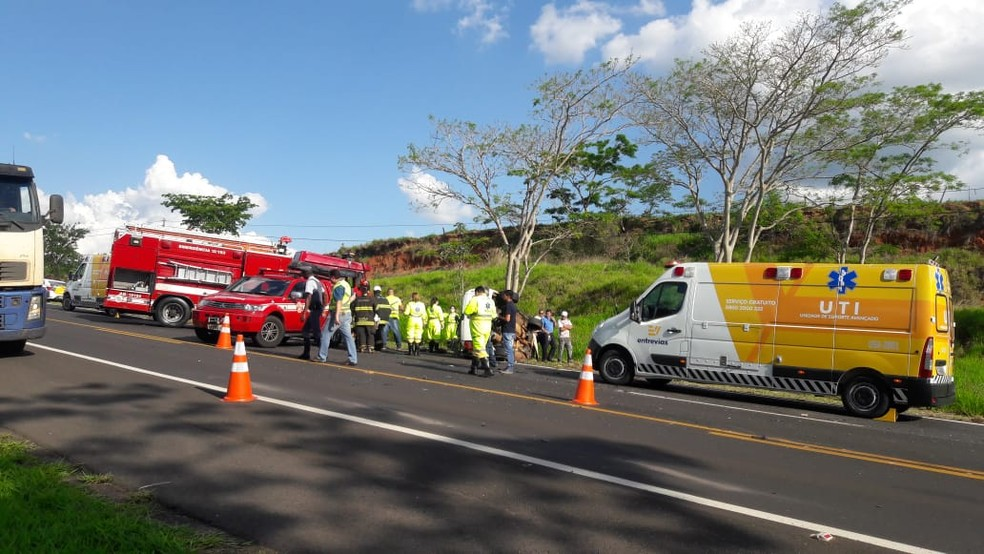 Trecho da SP-333 não precisou ser interditado ao tráfego — Foto: Corpo de Bombeiros/Divulgação