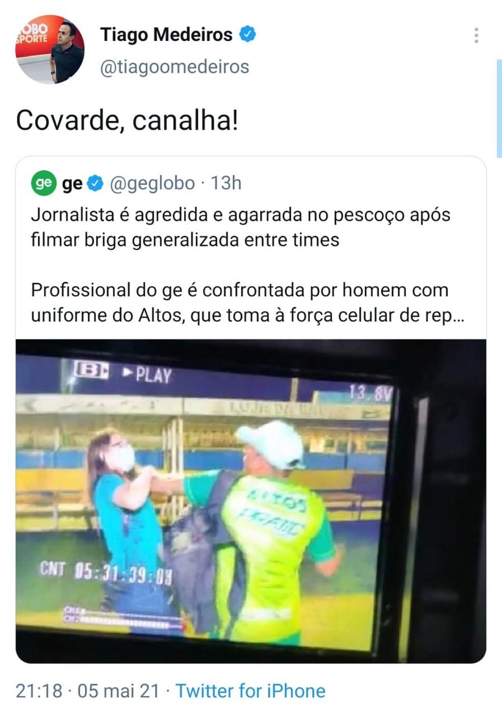 Agressão contra jornalista viraliza e causa comoção — Foto: Reprodução/Twitter