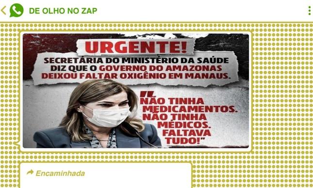 Redes bolsonaristas destacaram que Mayra culpou o governo do Amazonas pela crise do oxigênio em Manaus
