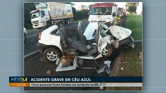 Cinco pessoas que voltavam de festa de carnaval ficam feridas em acidente na BR-277