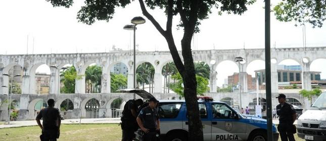 Polícia Militar reforça segurança nos Arcos da Lapa, cetro do Rio de Janeiro (Foto: Tânia Rêgo / Agência Brasil)