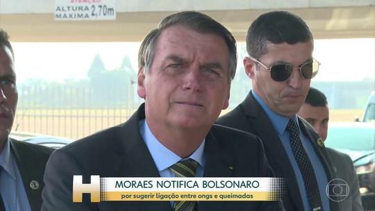 Ministro do STF notifica Bolsonaro para explicar declaração que vinculou ONGs a queimadas