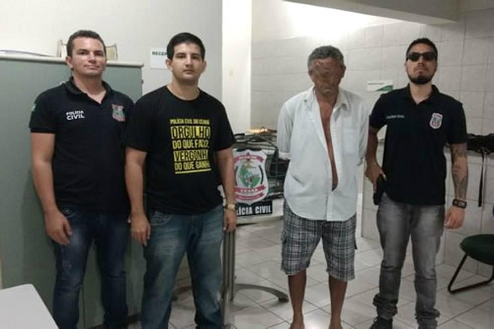 Homem foi preso em Jucás na quarta-feira, suspeito de estuprar a filha. Polícia divulgou imagem sem identificar o suspeito para que a vítima não seja reconhecida (Foto: Polícia Civil/Divulgação)