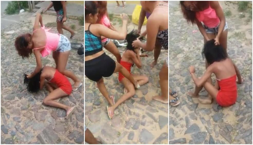 Em um outro vídeo, as agressoras chegam a utilizar paus e pedras para continuar agredindo a vítima — Foto: Arquivo Pessoal