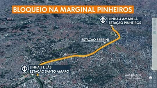 Interdição da Marginal Pinheiros para obras do monotrilho altera a rotina dos motoristas