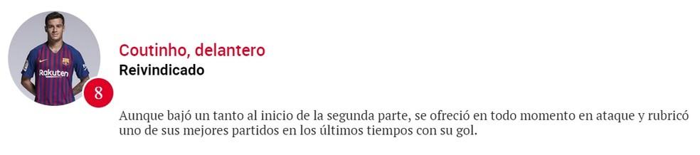 Coutinho recebeu nota 8 do jornal Sport — Foto: Reprodução/Sport