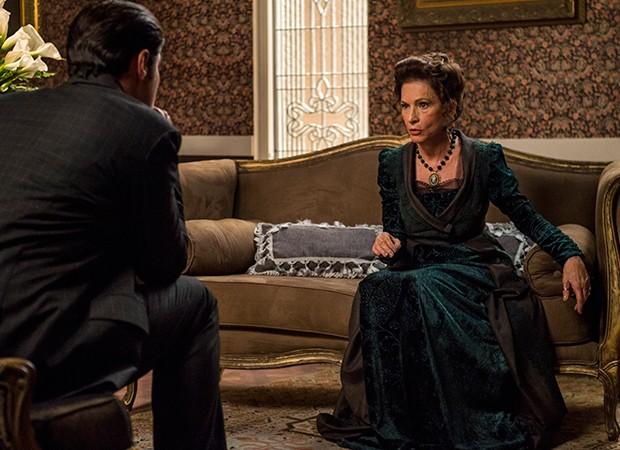 Lady Margareth (Natália do Vale) vai aprontar para Darcy (Thiago Lacerda) se afastar de Elizabeta (Nathalia Dill) (Foto: Globo/Mauricio Fidalgo)