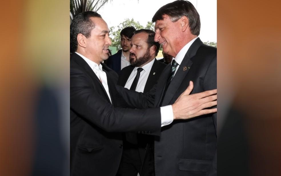 Uugton Batista com o presidente Jair Bolsonaro (foto de arquivo) — Foto: Reprodução/Instagram