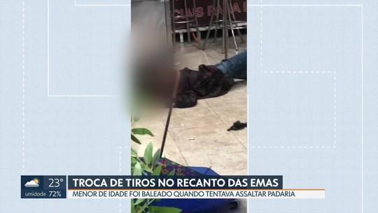 Menor é baleado durante assalto em padaria, no Recanto das Emas