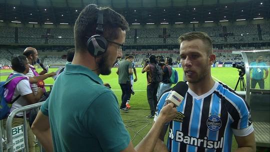 Arthur fala sobre força do Grêmio na posse de bola durante a partida contra o Cruzeiro