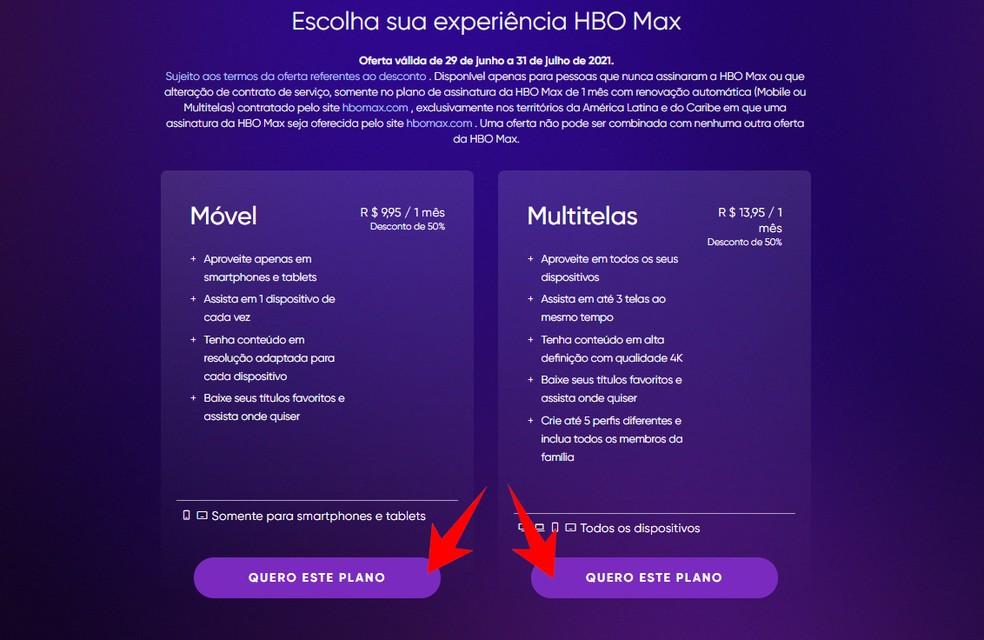 HBO Max tem planos diferentes para acessar em dispositivos móveis ou em computadores e smart TVs — Foto: Reprodução/Rodrigo Fernandes