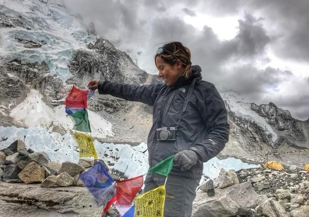 Mariela Vasconcelos desbrava o Everest sozinha (Foto: Arquivo Pessoal)