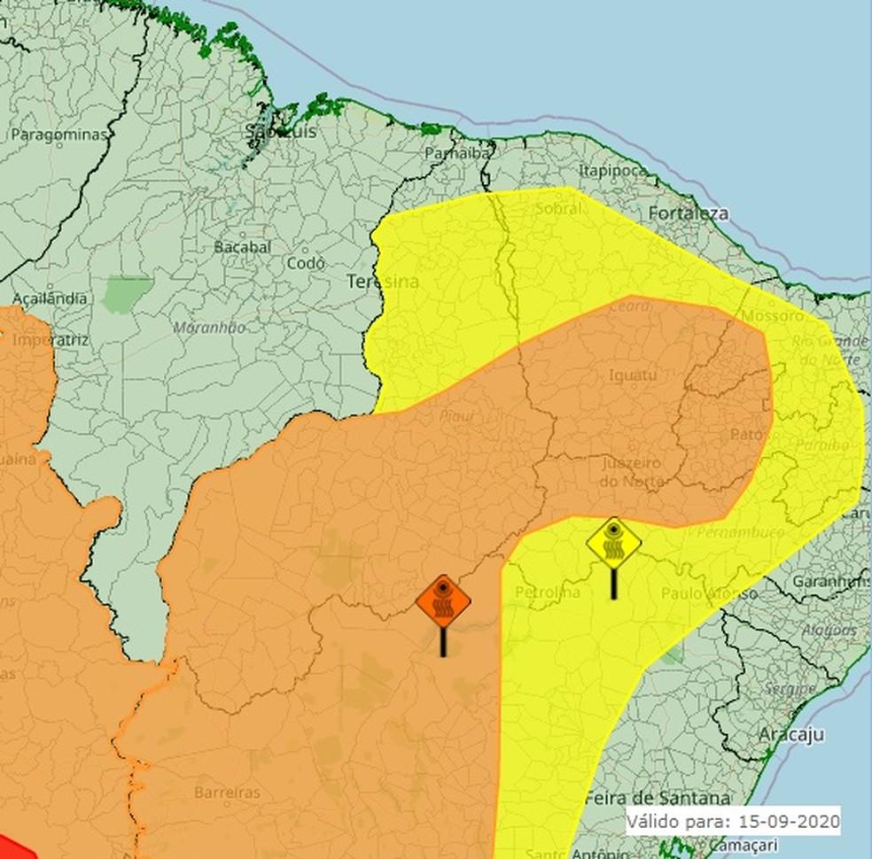 Piauí tem dois alertas, um de perigo potencial (mancha amarela) e outro de perigo (mancha laranja) — Foto: Reprodução/Inmet