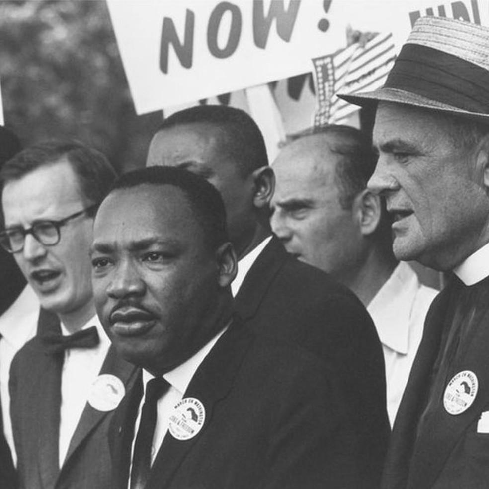 Marthin Luther King Jr. em marcha por direitos civis para negros em Washington, nos EUA (Foto: Arquivo Nacional dos EUA)