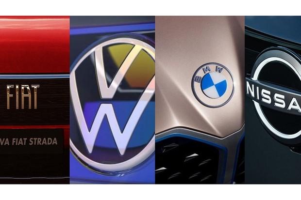 Montadoras mudam seus logotipos para se adequar aos novos tempos (Foto: Montagem sobre arquivo)
