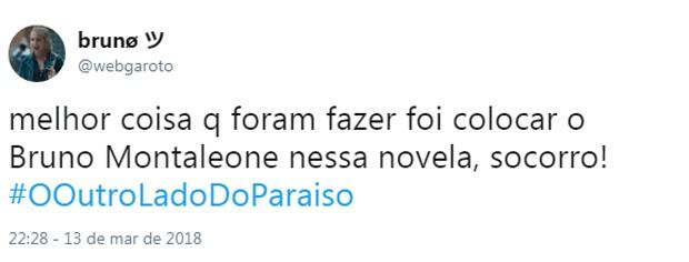 Comentário sobre cena de Bruno Montaleone em O Outro Lado do Paraíso (Foto: Reprodução/Twitter)