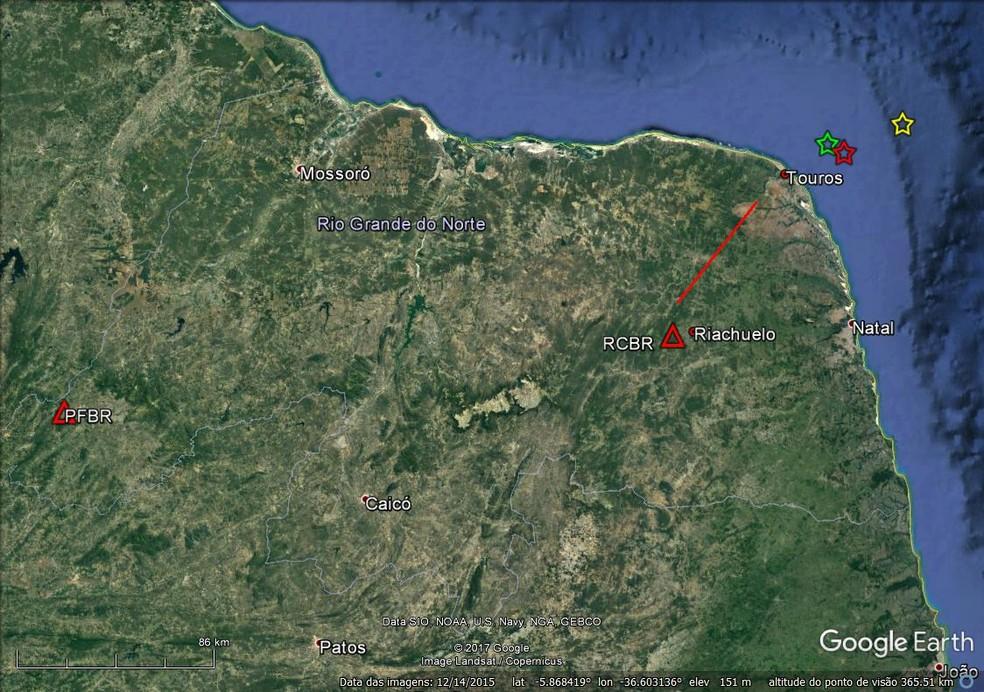 Estrela amarela representa local do epicentro de tremor registrado no litoral potiguar (Foto: LabSis/ UFRN)