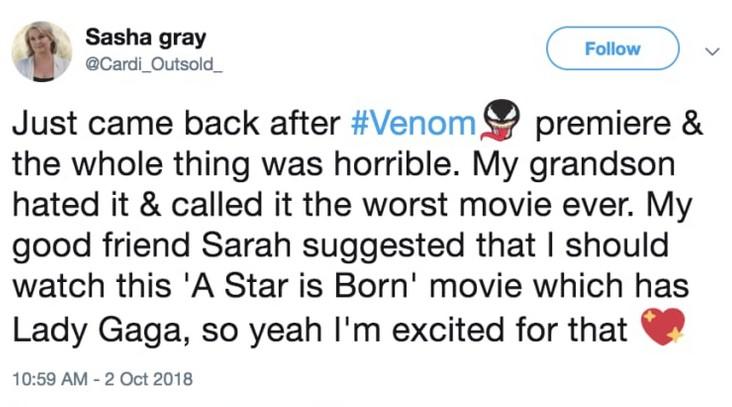 Um post no Twitter criado por fãs de Lady Gaga criticando o filme Venom (Foto: Twitter)