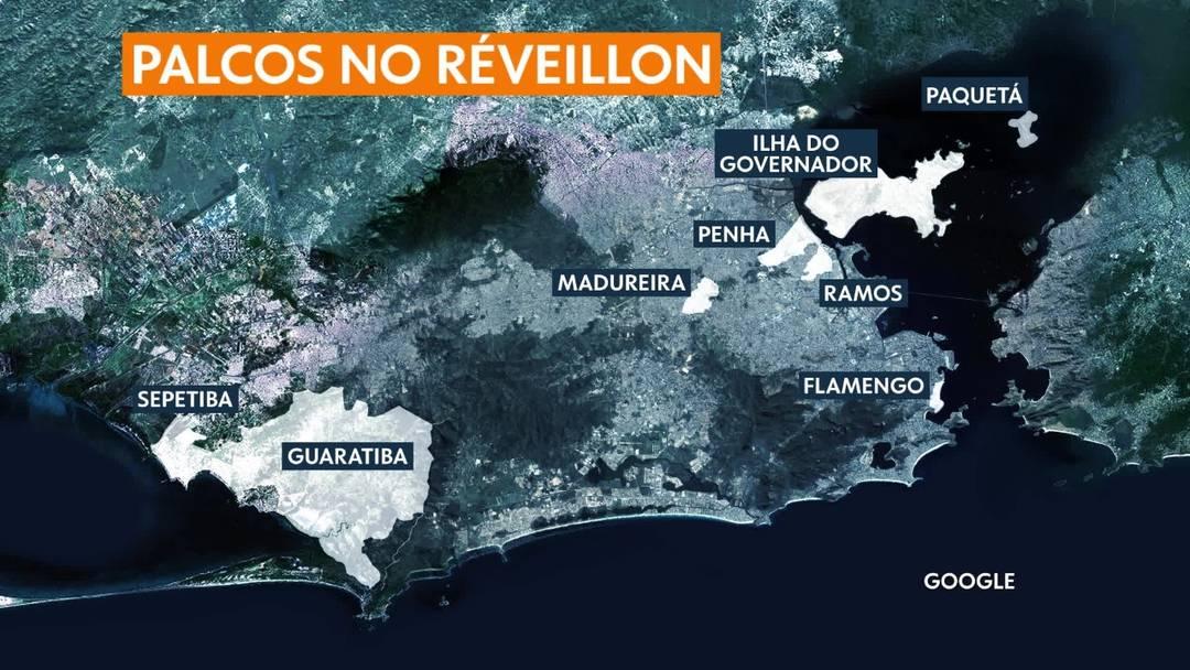 Mapa mostra os demais palcos do réveillon do Rio