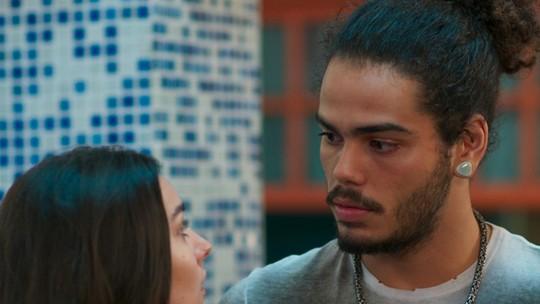 Pedro discute com Luciana e revela que sabe o segredo dela