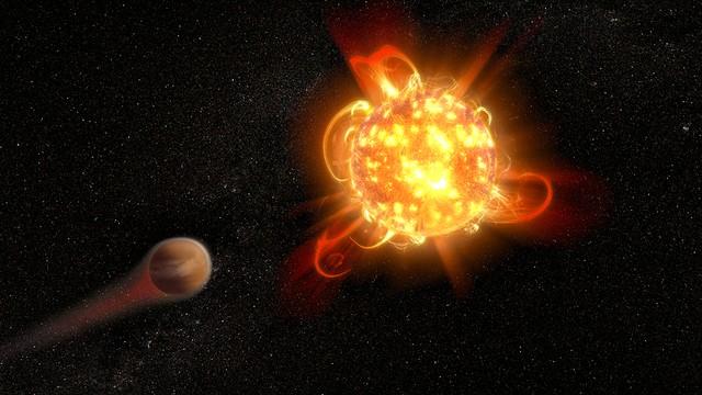 Chamas em estrelas anãs vermelhas (Foto: NASA, ESA, and D. Player (STScI))