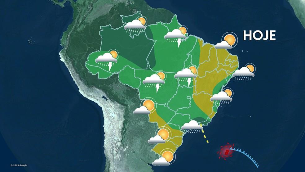 Previsão do tempo 08/10/19 — Foto: Reprodução TV Globo