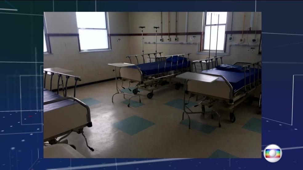 Hospital Federal de Bonsucesso, considerado referência para Covid-19 no RJ pelo Ministério da Saúde, tem leitos vazios — Foto: Reprodução/TV Globo