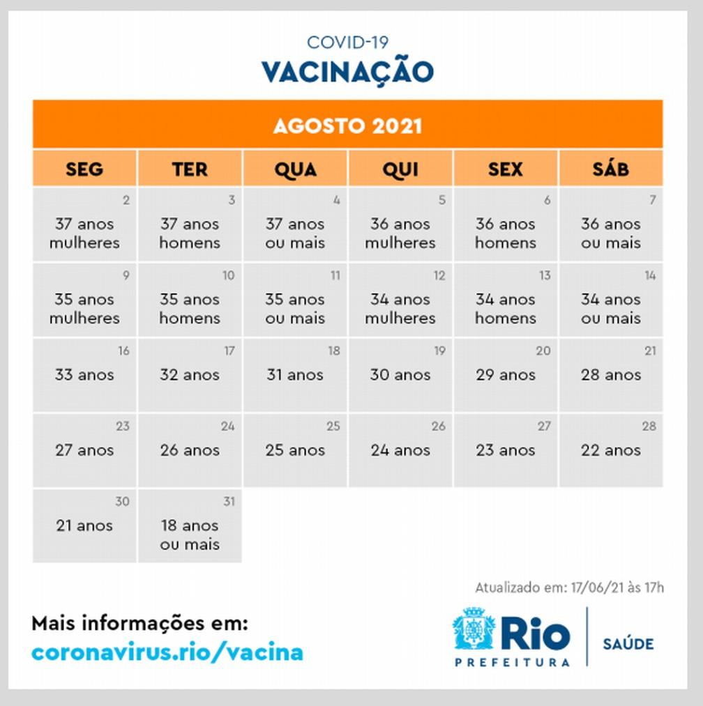 Novo calendário da vacinação no Rio para agosto — Foto: Reprodução