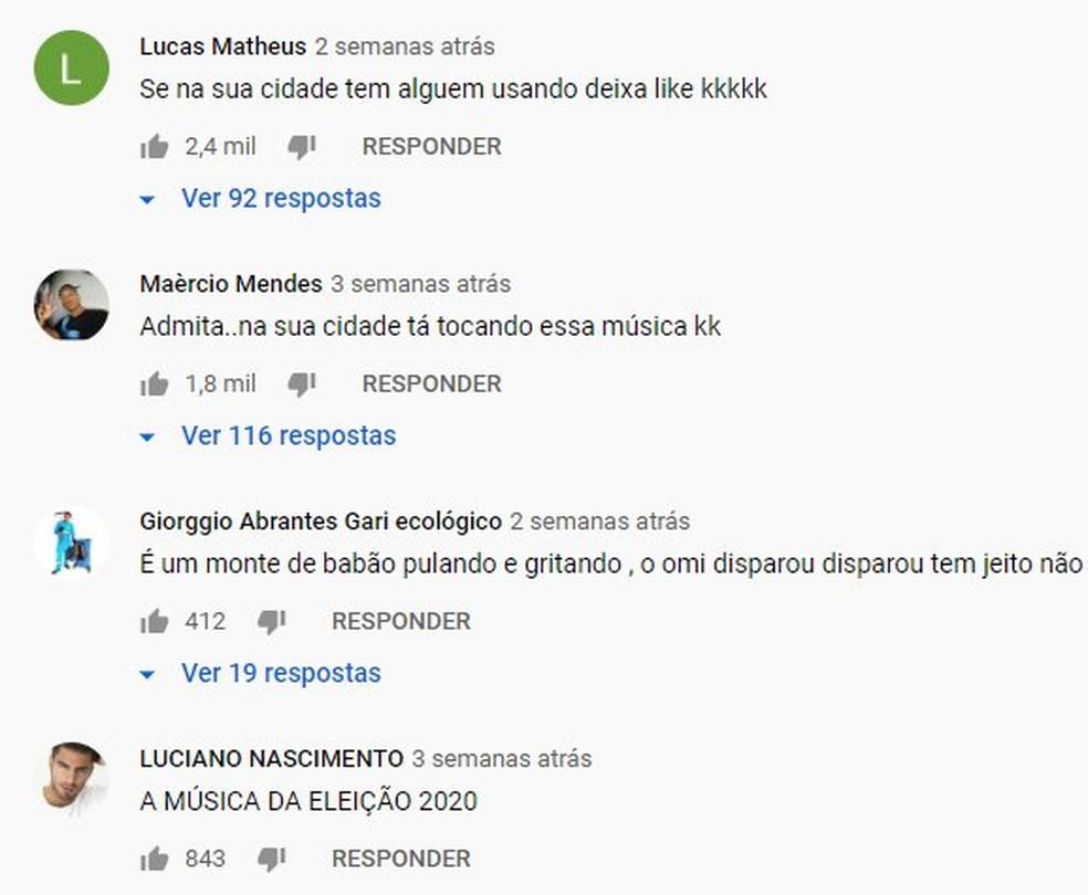 Comentários no YouTube no vídeo de 'O homem disparou' — Foto: Reprodução